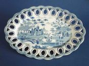 Rare Spode 'Gothic Castle' Oval Pierced Basket Stand c1815
